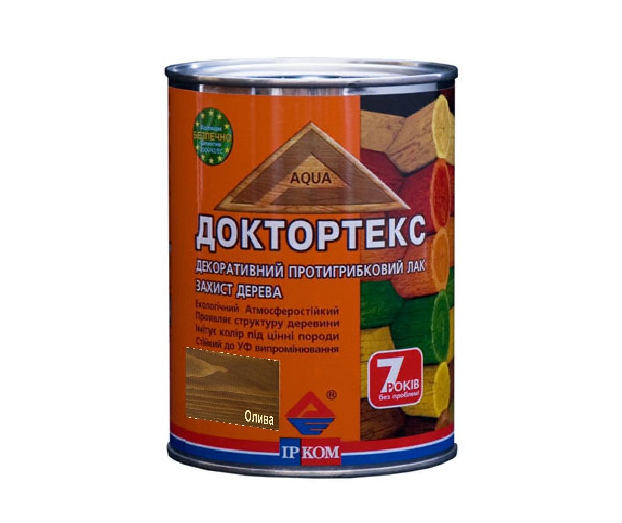 Лазурь-лак антисептический ІРКОМ ДОКТОРТЕКС ІР-013 для древесины олива 0,8л