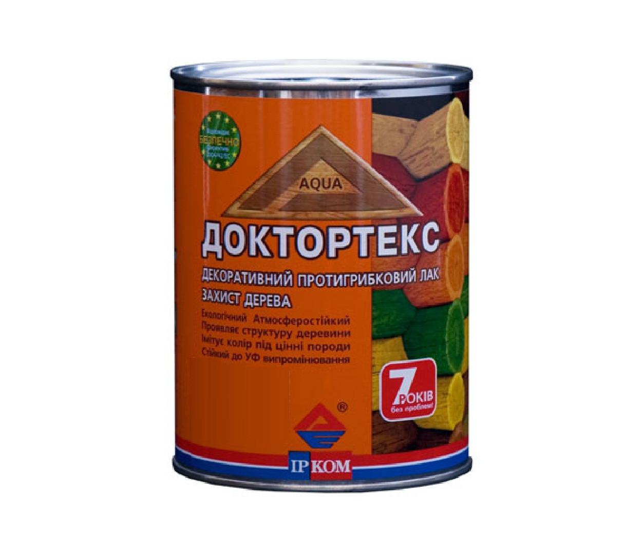 Лазурь-лак антисептический ІРКОМ ДОКТОРТЕКС ІР-013 для древесины бесцветный 0,8л