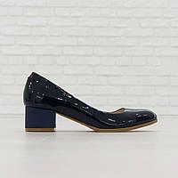Туфли из натуральной кожи на широком каблуке синий