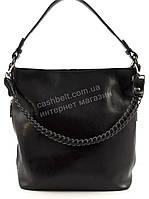 Вместительная стильная кожаная женская оригинальная сумка  art. 923 Турция черная