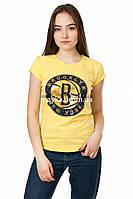 Женская футболка с принтом Brooklyn цвет желтый p.44-46 Gusse 5750 SS24-1