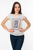 Женская футболка с принтом Love цвет серый p.44-46 Gusse 5840 SS25-1
