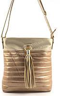Стильная наплечная вместительная блестящая женская сумка  KISS ME art. Q725 золотистая