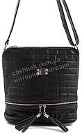 Стильная наплечная блестящая оригинальная женская сумка  KISS ME art. 103 черная