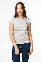 Женская однотонная футболка с надписью цвет серый p.44-46 Gusse 1214 SS27-1