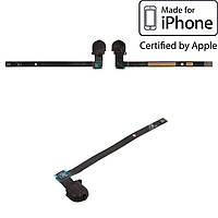 Шлейф для Apple iPad 5 Air, коннектора наушников, с компонентами (оригинал), черный