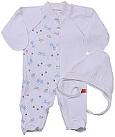 Человечек и шапочка для новорожденных, белые с жирафиками, р. 56