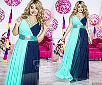 Вечернее женское платье двухцветное батал