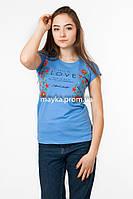 Женская футболка с вышивкой цвет голубой p.44-46 Gusse SS28-1