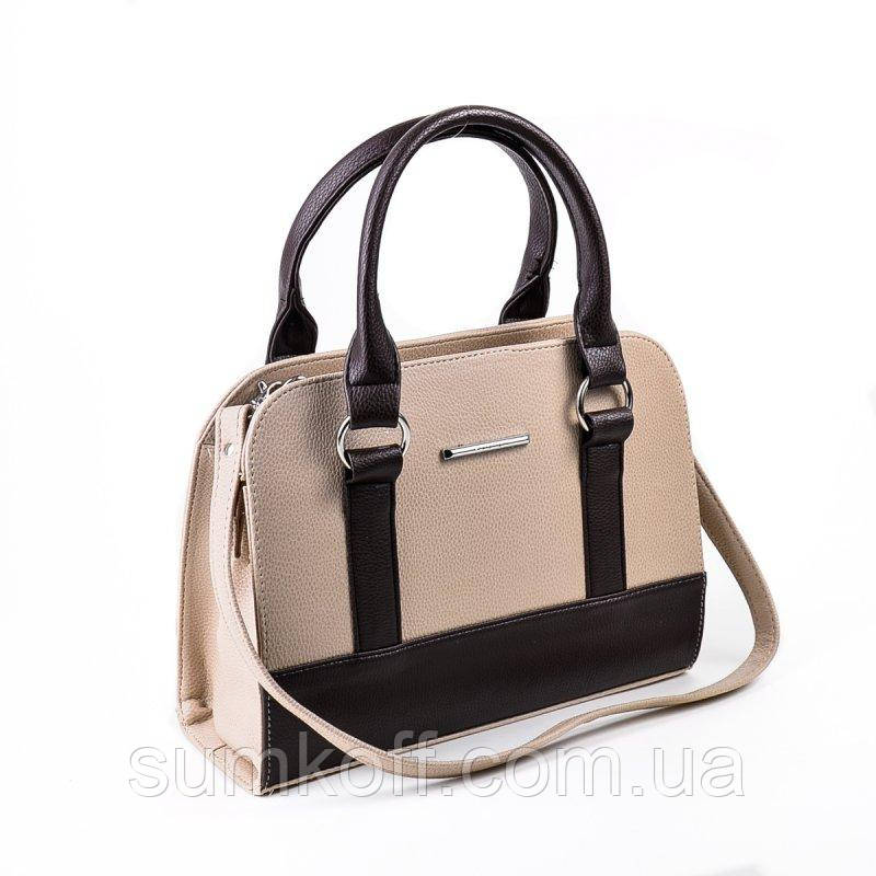 27e4255e3411 Бежевая сумка коричневые вставки средняя - Интернет магазин сумок SUMKOFF -  женские и мужские сумки,