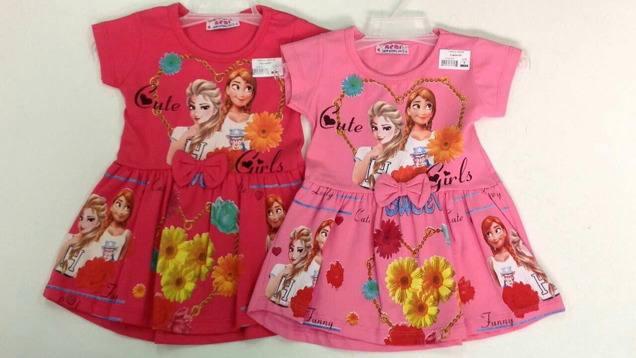 Платье для девочек с мультяшным принтом Эльза