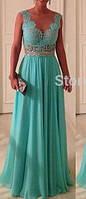 DL-528 Вечернее Макси Платье на Выпускной 2017 Фото бирюзовое