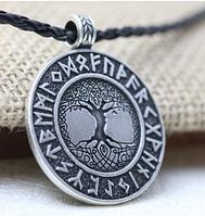 Рунический кулон оберег Мировое древо Иггдрасиль Футарк руны по кругу