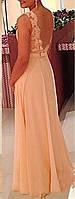 DL-528 Вечернее Макси Платье на Выпускной 2017 Фото персиковое