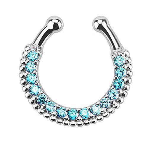 Серьга-обманка в нос с голубыми камнями