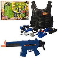 Детский игровой набор военного 8635, 2 вида: бронежилет + автомат + пистолет + бинокль