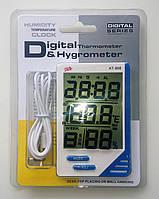 Термометр-гігрометр для кімнати та вулиці, з функціями годинника та будильника і виносним датчиком