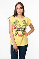 Женская футболка с принтом цвет желтый p.48-50 Gusse 5845 SS34-1