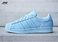 Кроссовки женские Adidas Superstar Light Blue (адидас суперстар) голубые