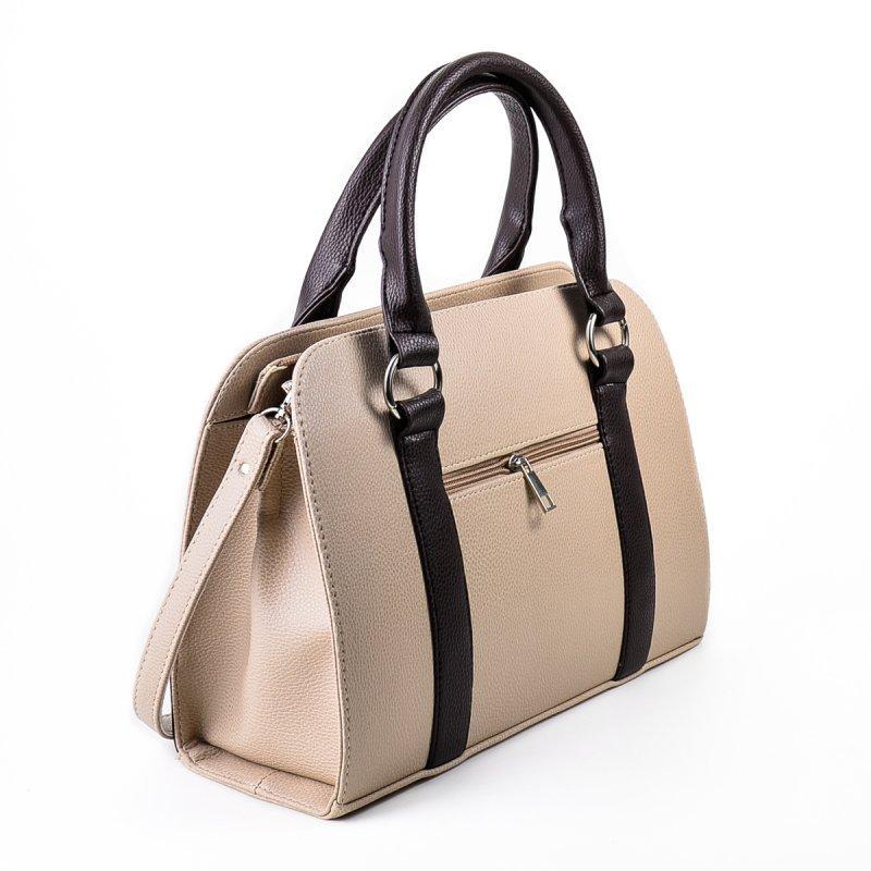 a991d4b5ab74 Деловая бежевая сумка М59-66/40 с темно-коричневыми вставками, цена 365  грн., купить в Днепре — Prom.ua (ID#525166488)