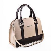 Деловая бежевая сумка с темно-коричневыми вставками