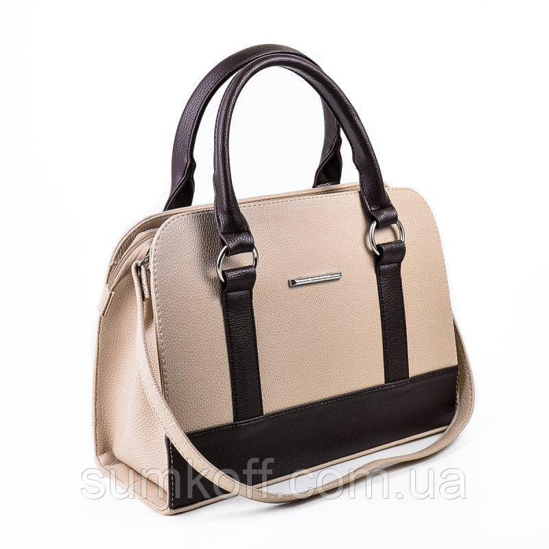 facb7aa41667 Деловая бежевая сумка М59-66/40 с темно-коричневыми вставками - Интернет  магазин