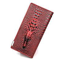 Женский кожаный кошелек Aligator красно - черный