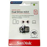 Флешка  16Gb SanDisk Ultra Dual;OTG, USB 3.0