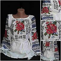 Льняная женская блузка с вышивкой, 42-56 р-ры, 850/720 (цена за 1 шт. + 130 гр.)