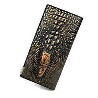 Женский кожаный кошелек Aligator черно - бронзовый
