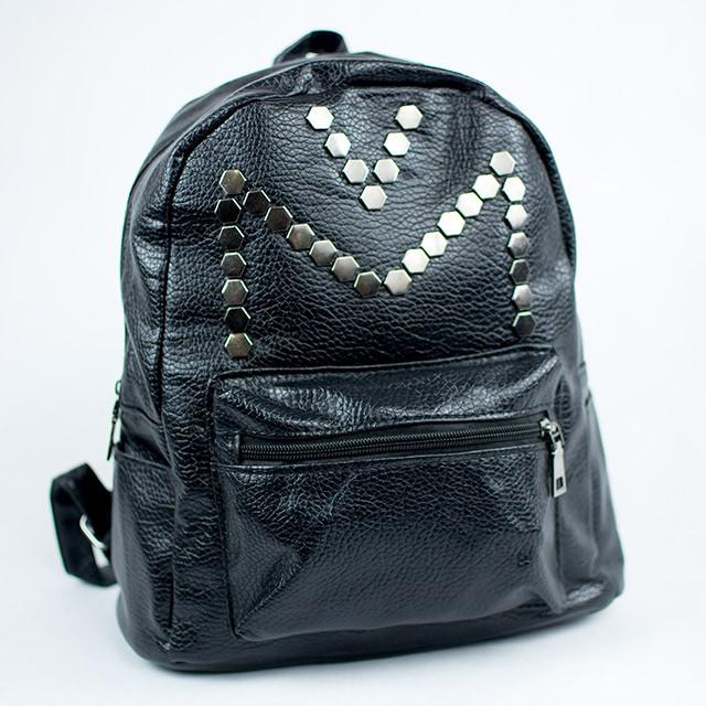 Стильный черный женский городской рюкзак