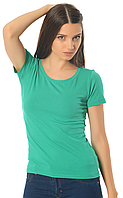 Бирюзовая футболка женская без рисунка яркая спортивная летняя с коротким рукавом хлопок стрейч (Украина)