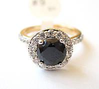 Кольцо с гагатом, размер  16