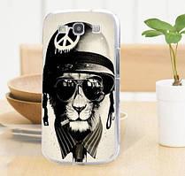 Силиконовый бампер для Samsung Galaxy Core i8260 i8262 с картинкой Кот в каске