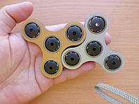 Противоударный спиннер для рук бронза + серебро, Hand Spinner, Finger Spinner (4 подшипника)