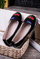 Эспадрильи женские черные легкие с вышивкой текстиль