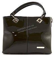 Стильная  вместительная женская лаковая прочная сумка art. 140-1 болотного цвета
