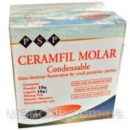 Универсальный упрочненный стеклоиономерный цемент ceramfil molar  25 гр.+15 мл.