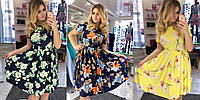 Женское платье повседневное большого размера цветочный принт 50-54