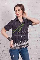 Женская блуза с вышивкой весна 2017 от производителя - (код бл-91) - черная, фото 1