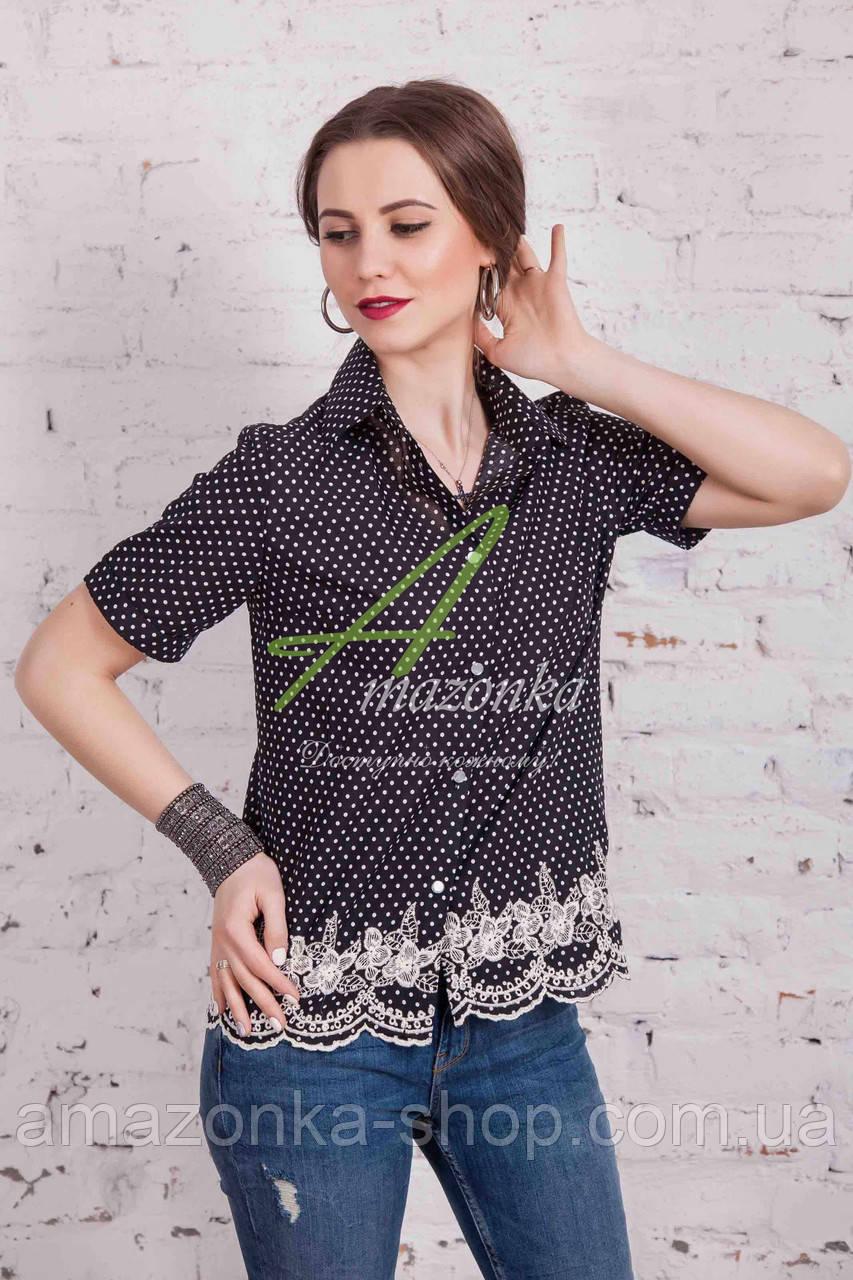 Женская блуза с вышивкой весна 2017 от производителя - (код бл-91) - черная