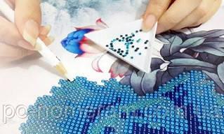 Выкладка круглой алмазной вышивкой