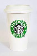 Чашка керамическая с силиконовой крышкой с поилкой Starbucks 400мл