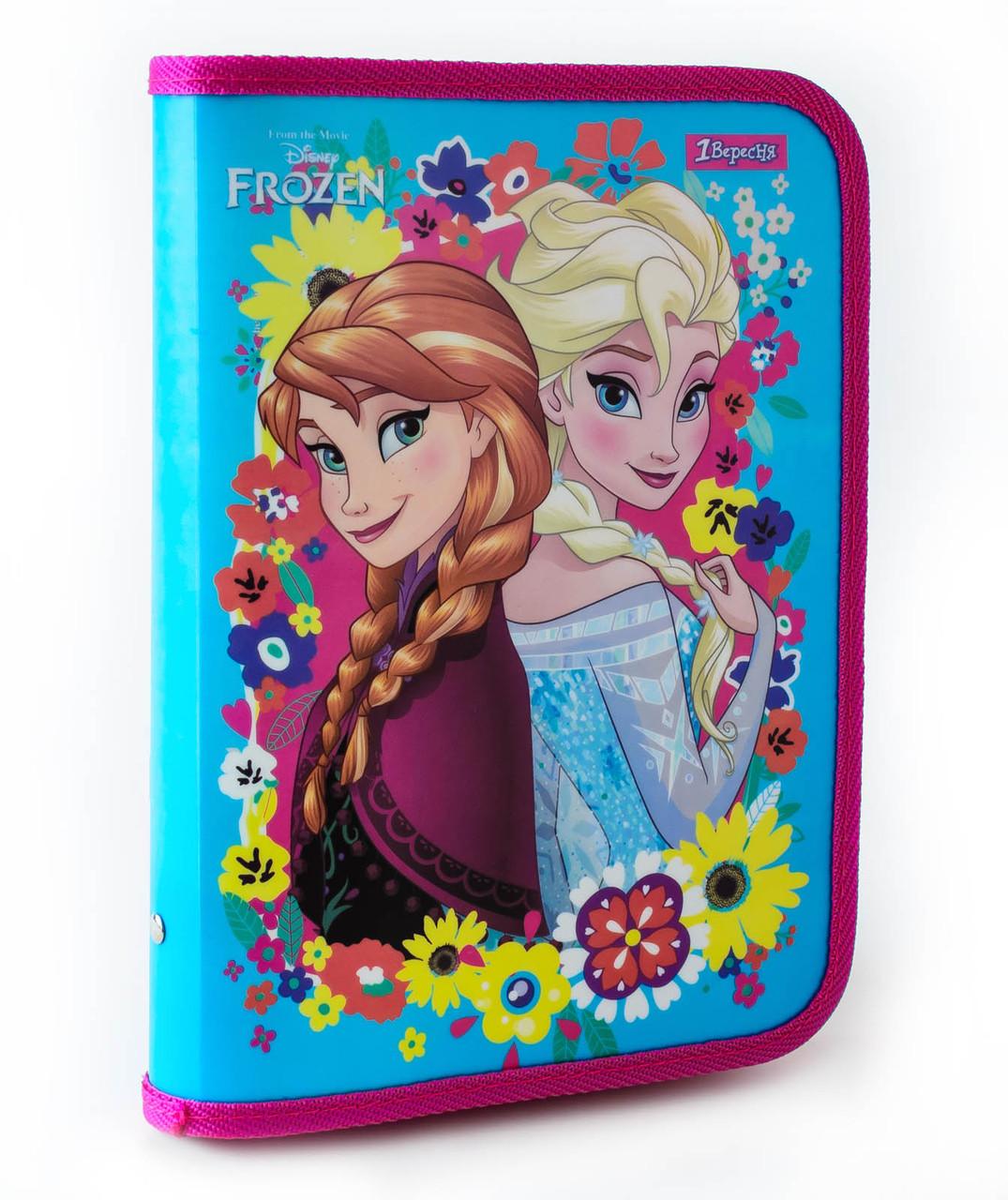 """Папка для тетрадей пласт. на молнии В5 """"Frozen""""  491208"""