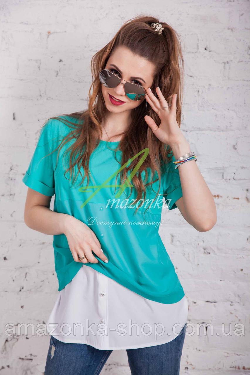 Свободная шифоновая блуза для девушек 2017 от производителя - (код бл-122р)