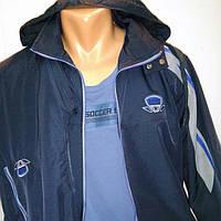 Мужской спортивный костюм из плащевой ткани, синий, Соккер, размер 46.
