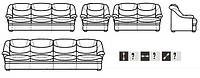"""Классический кожаный диван """"Grizli"""" (Гризли) Курьер Индивидуальный размер, Не раскладной, натуральная кожа"""