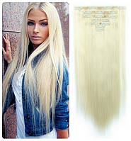 Волосы трессы ТЕРМо на заколках набор из 10 прядей 60 см №613