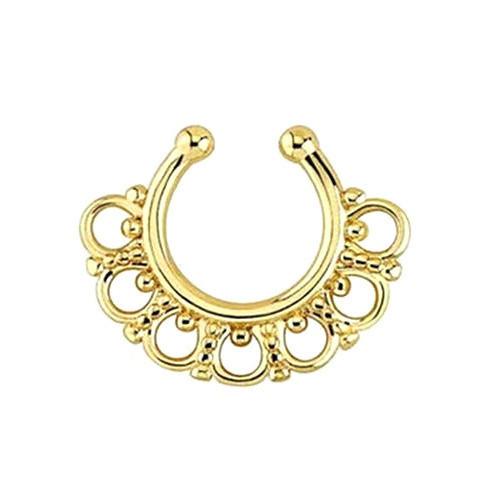 Серьга-обманка в ноc Aztec Желтое Золото