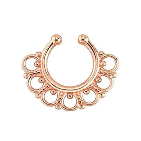 Серьга-обманка в ноc Aztec Розовое Золото